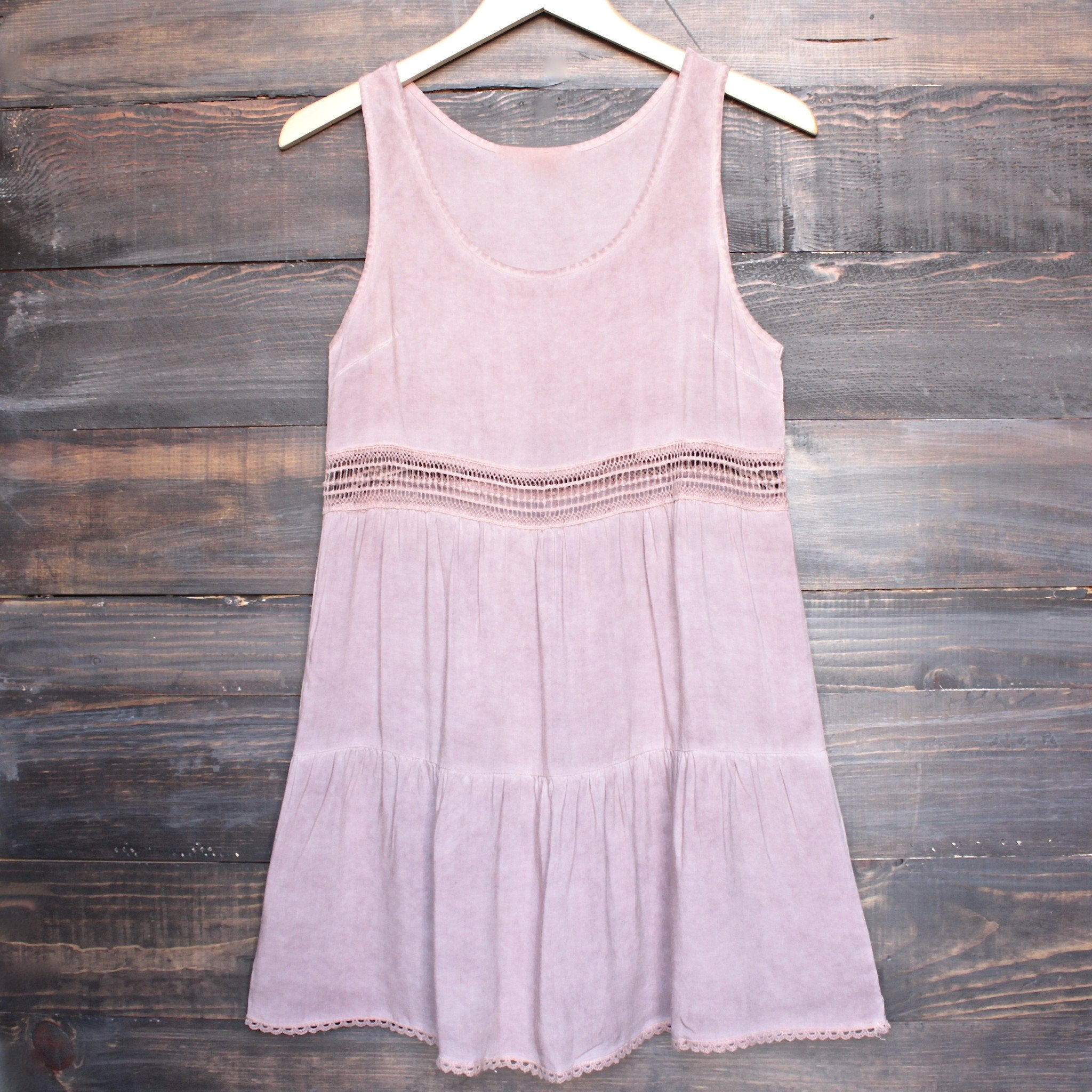 boho acid wash flowy tunic dress with crochet inset in pink - shophearts