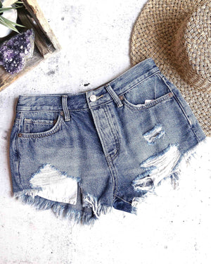 Free People - Loving Good Vibrations Cut Off Shorts in Indigo Mirage
