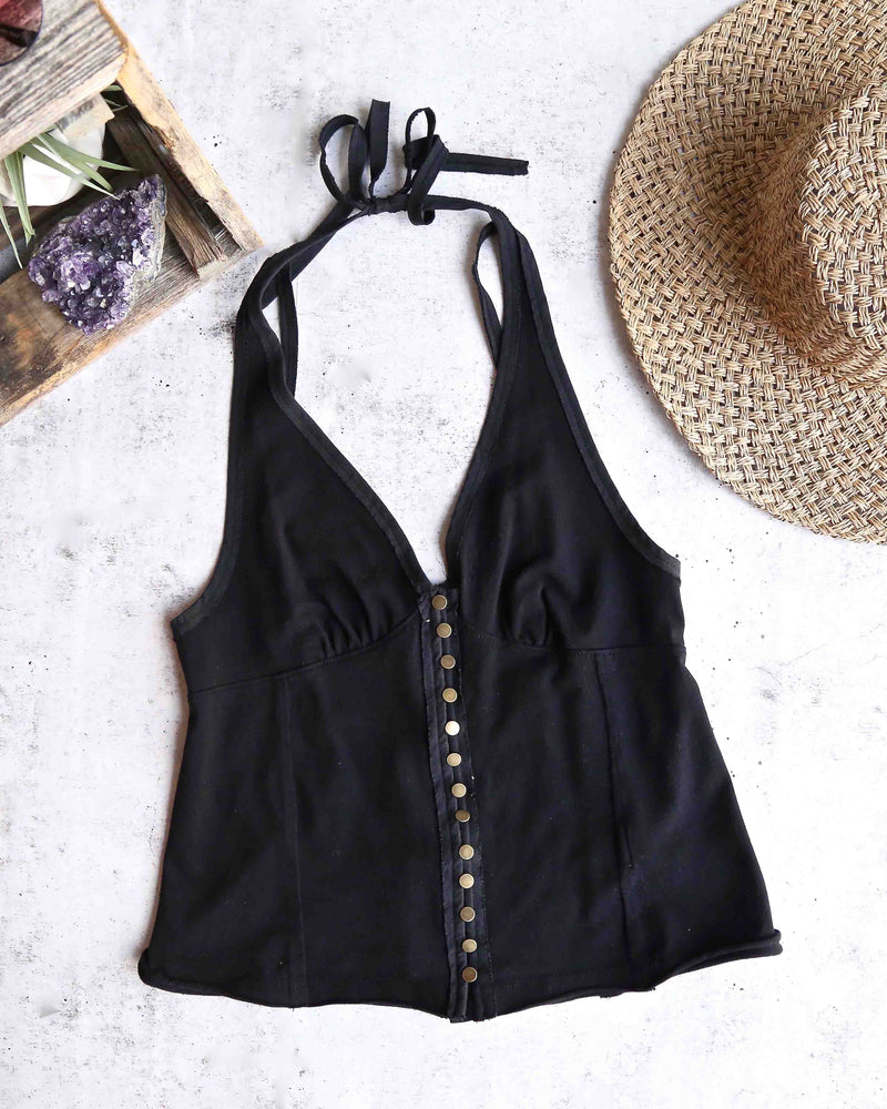 free people - solid mylo tank - black