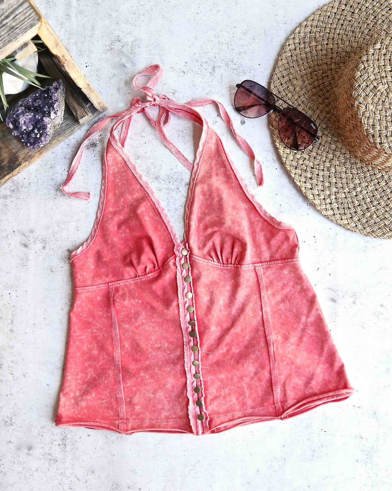 Free People - Solid Mylo Tank in Vintage Wash Red