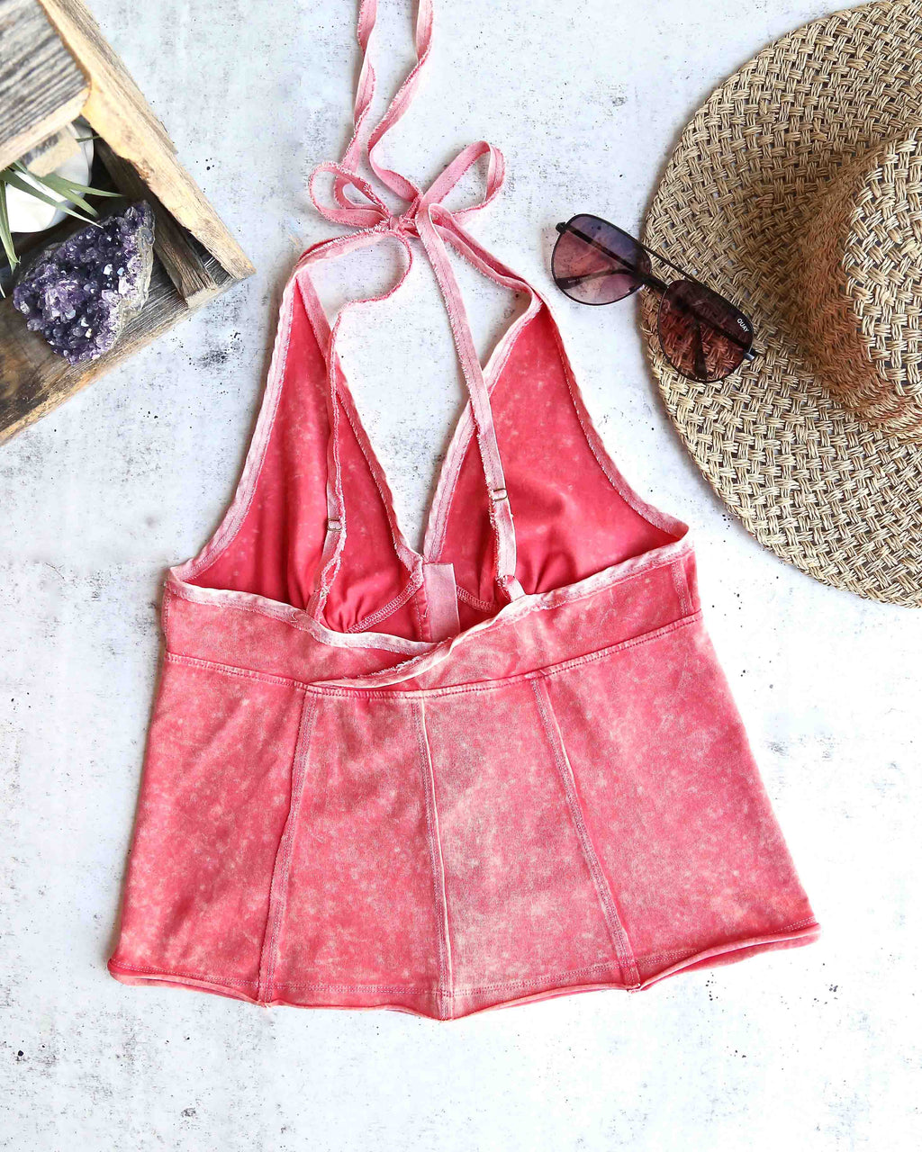 free people - solid mylo tank - vintage wash red