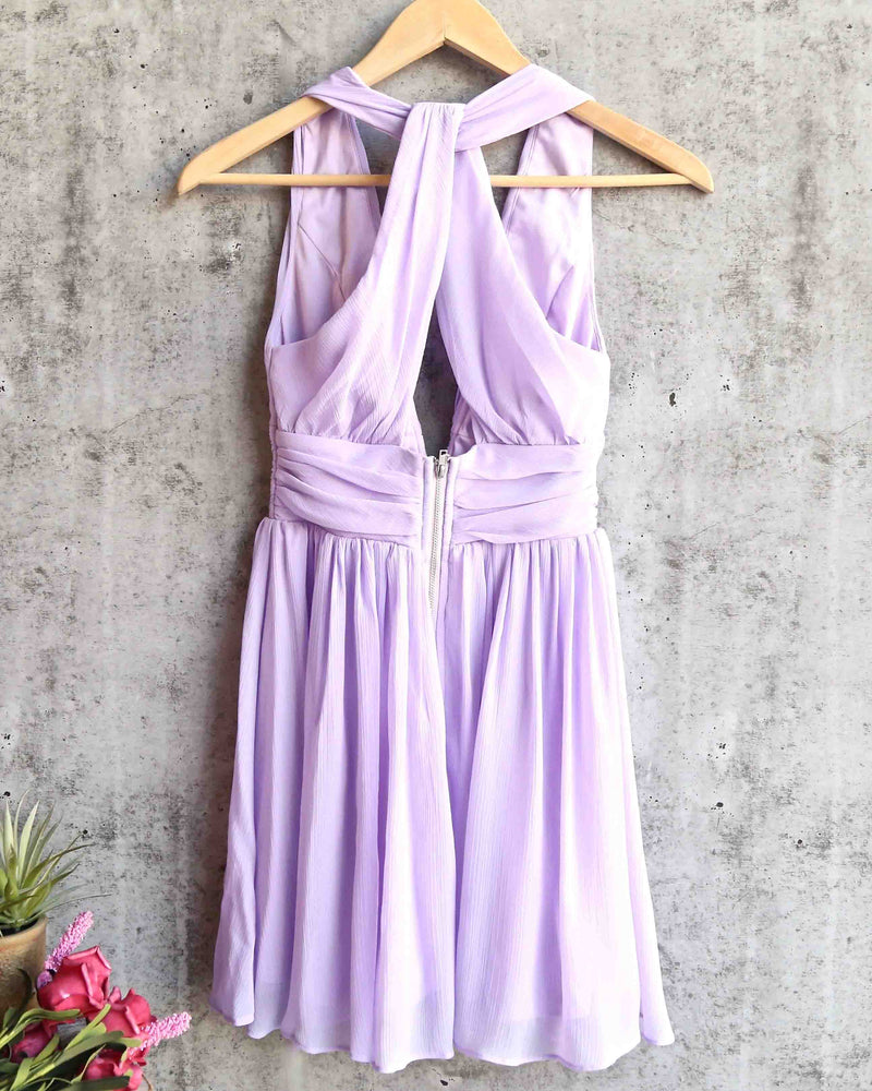 Lost Valley Deep Plunge Dress in Lilac