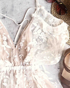 babes in paradise - peek a boo - floral romper - ivory/nude