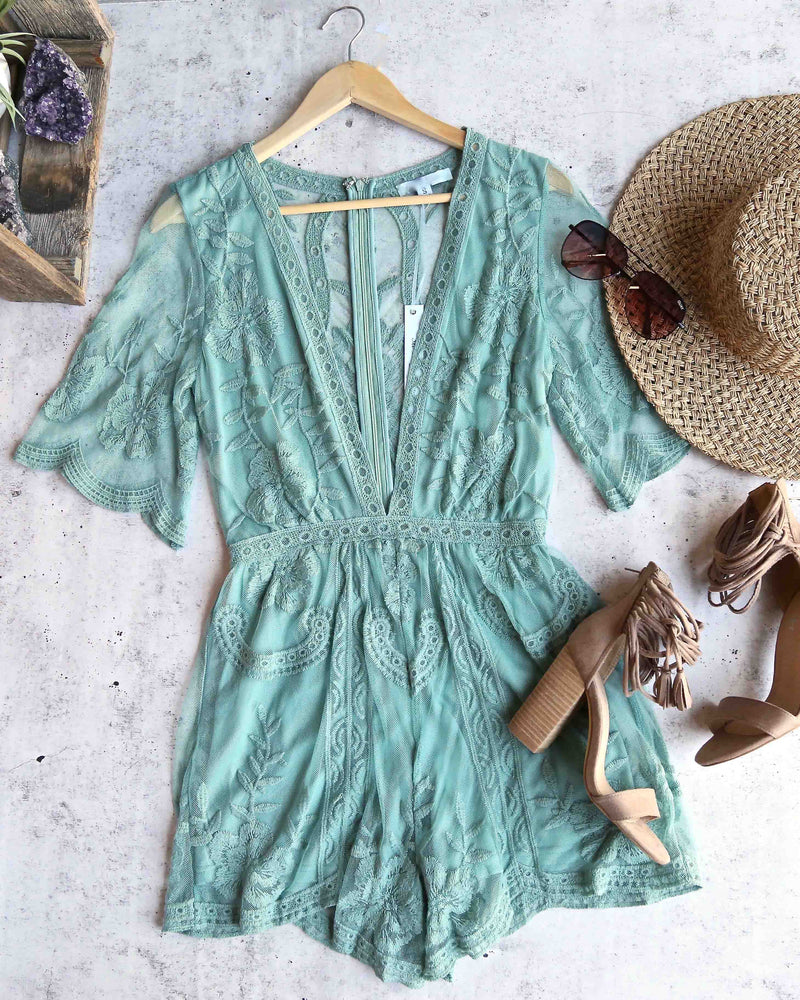 For What It's Worth Lace Romper in Slate Green