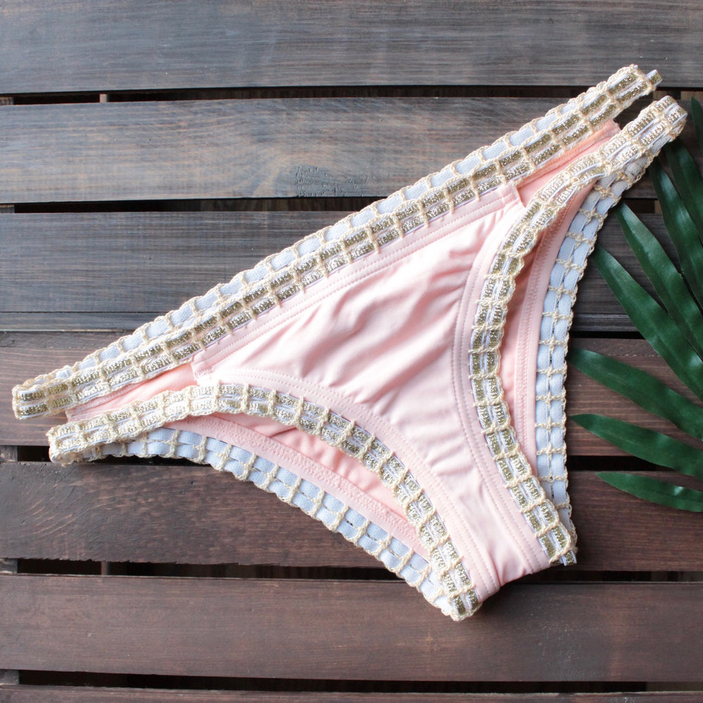 bikini lab - mix & match weaving on a jet plane hipster bikini bottoms - peach - shophearts - 1