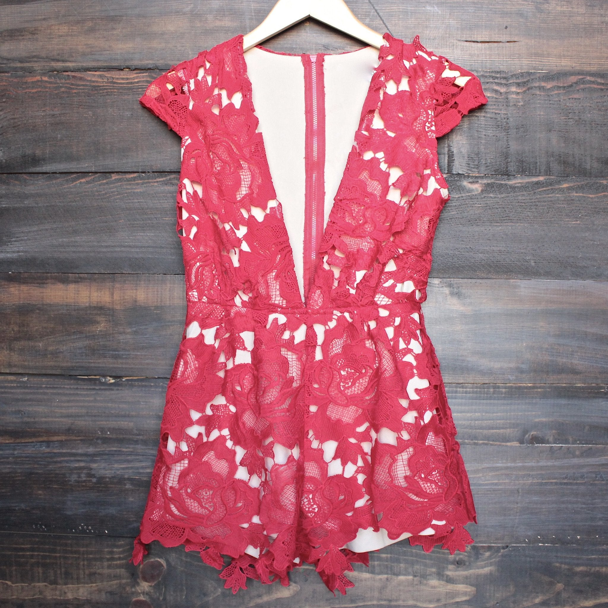 floral appliqué deep plunge tailored romper - red - shophearts - 1