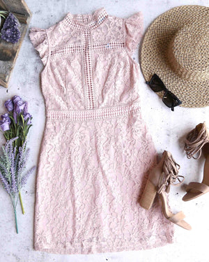 Cherry on Top Lace Mock Neck Dress in Misty Pink