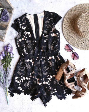 Lioness - Floral Applique Deep Plunge Tailored Romper in Black