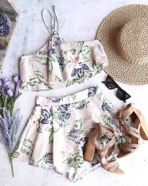in the moment two piece floral halter set - taupe