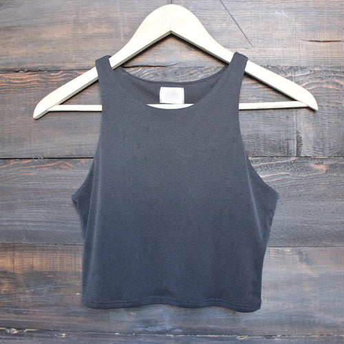 bsic - everyday ribbed knit crop top - charcoal - shophearts - 1