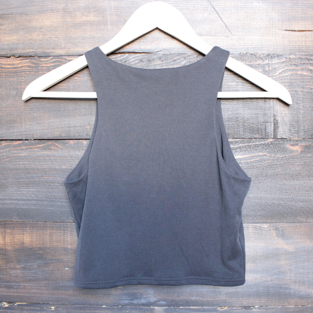 bsic - everyday ribbed knit crop top - charcoal - shophearts - 2