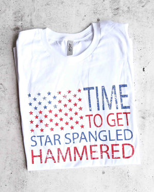 distracted - time to get star spangled hammered - 4th of july shirt