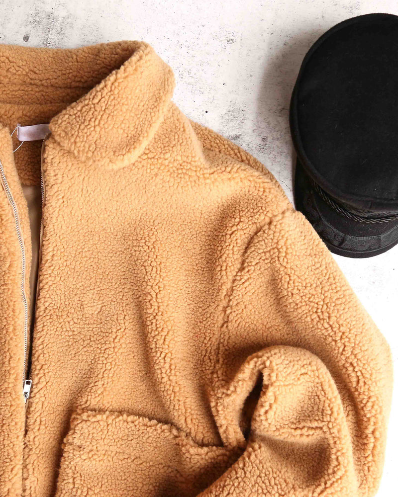 Final Sale - Zip Up Teddy Bear Coat Jacket - Camel