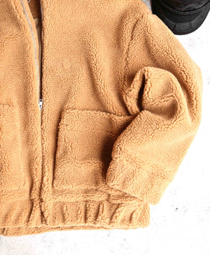 Zip Up Teddy Bear Coat Jacket - Camel