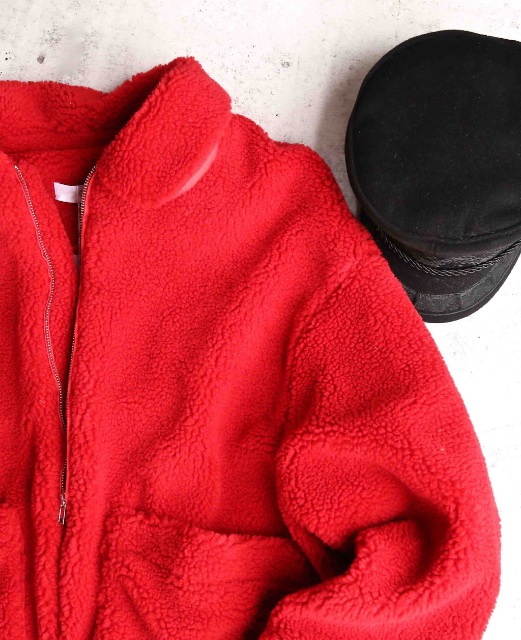 Zip Up Teddy Bear Jacket in Red