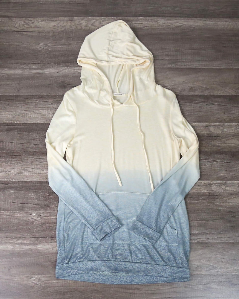 FINAL SALE - Ombre Lightweight Sweatshirt Hoodie in Cream to Blue