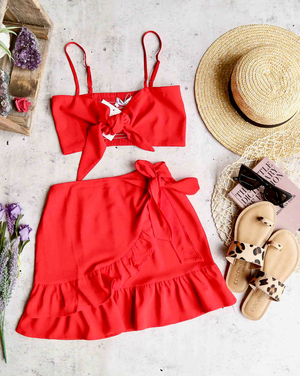 reverse - fawn two piece set - red