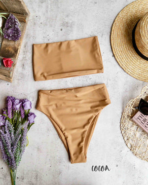 reverse - lean on - high waisted bandeau bikini set - more colors