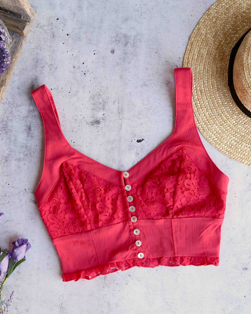 Free People - Here I Go Brami Lace Crop Top in Red