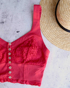 free people - lace crop top - here i go brami - red