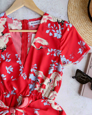 Reverse - Red Floral Raw Hem Romper