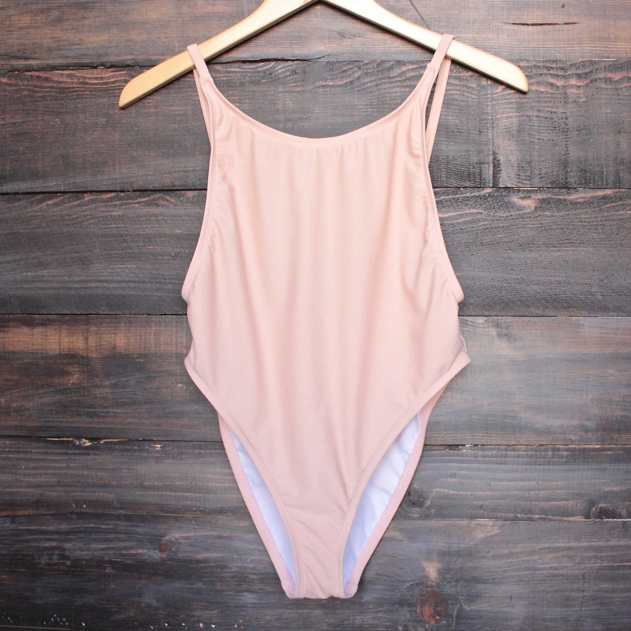 take a dip high-cut one piece swimsuit in blush - shophearts - 1