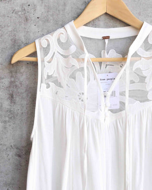 free people - western romance mesh applique top - ivory