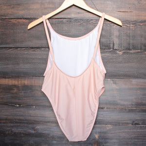 take a dip high-cut one piece swimsuit in blush - shophearts - 2