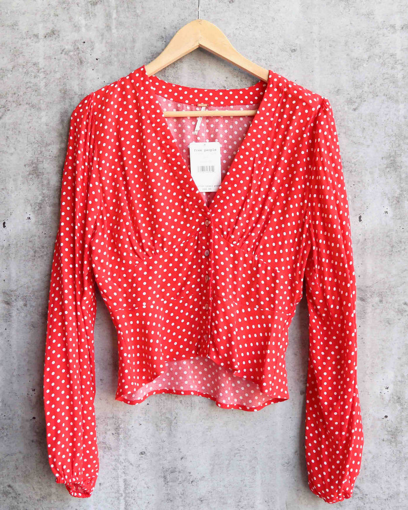 free people - love street polka dot gathered balloon sleeve top - red