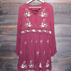 gauzy embroidered boho dress - burgundy - shophearts - 1