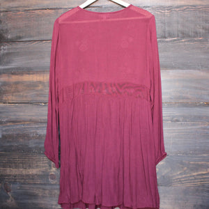 gauzy embroidered boho dress - burgundy - shophearts - 2
