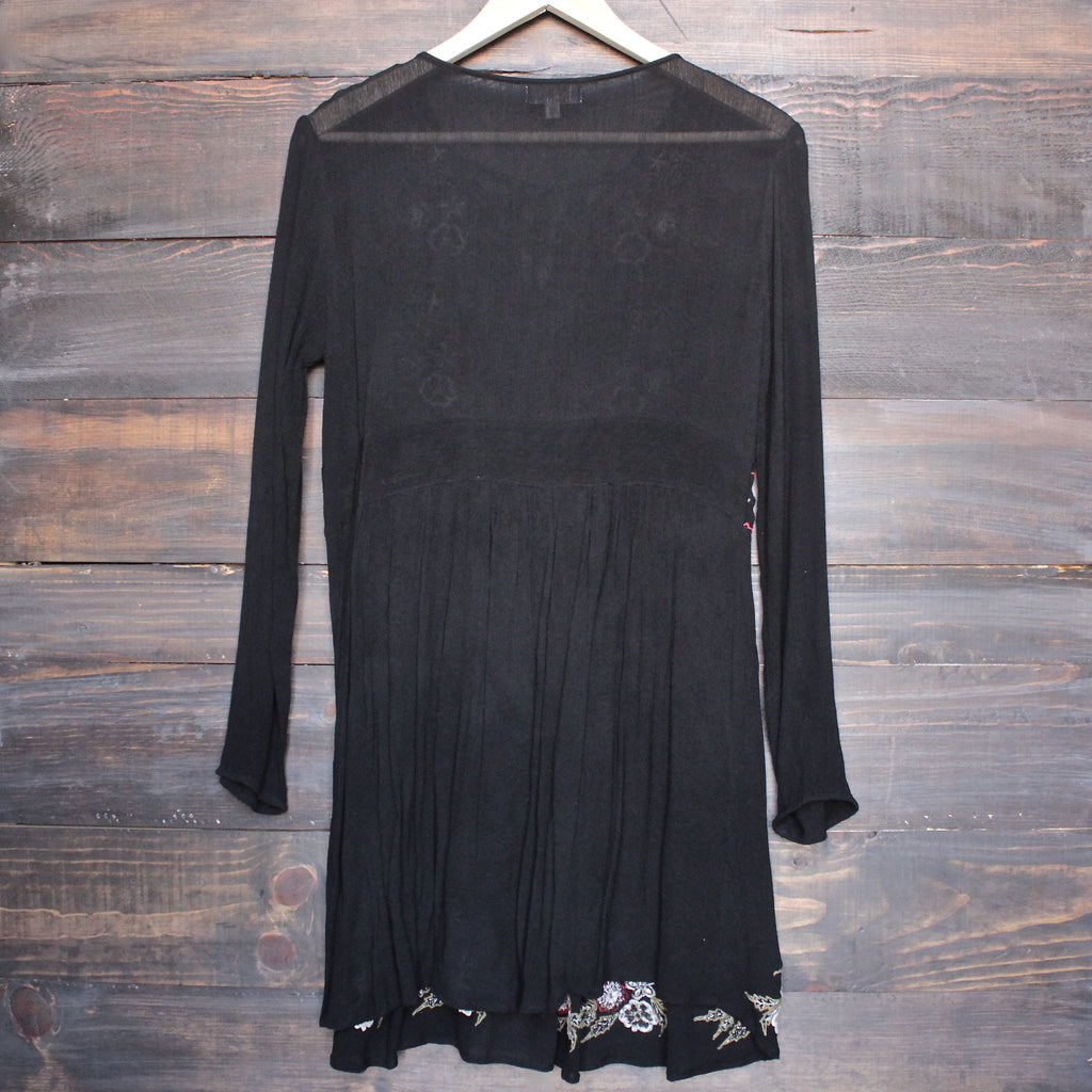 gauzy embroidered boho dress - black - shophearts - 2