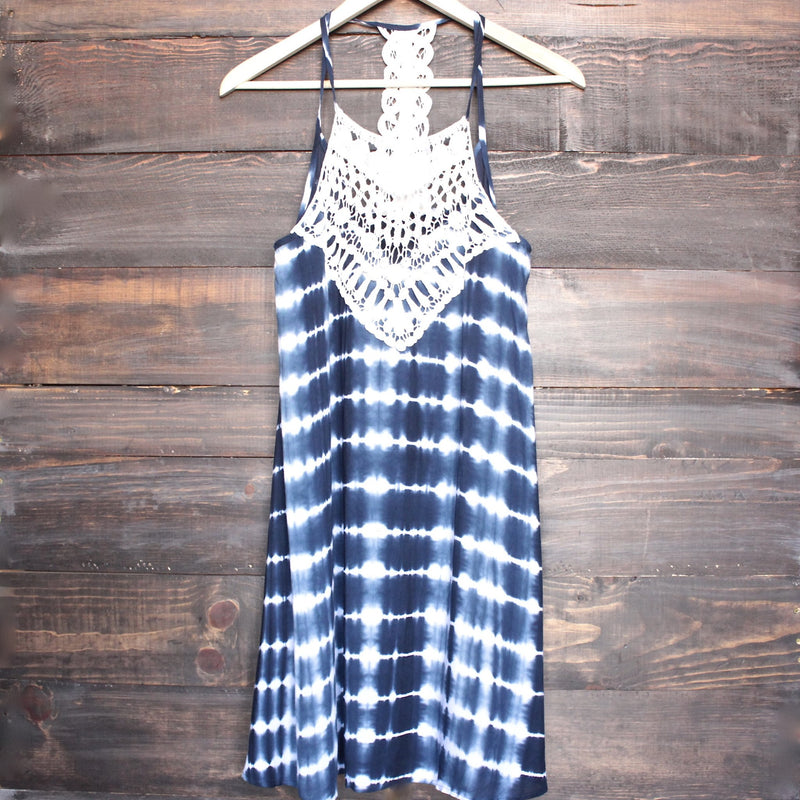 tie dye crochet bib sun dress - navy - shophearts - 1