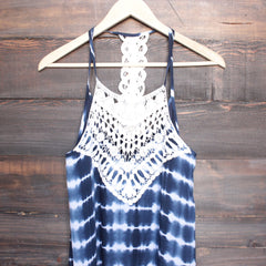 tie dye crochet bib sun dress - navy - shophearts - 2