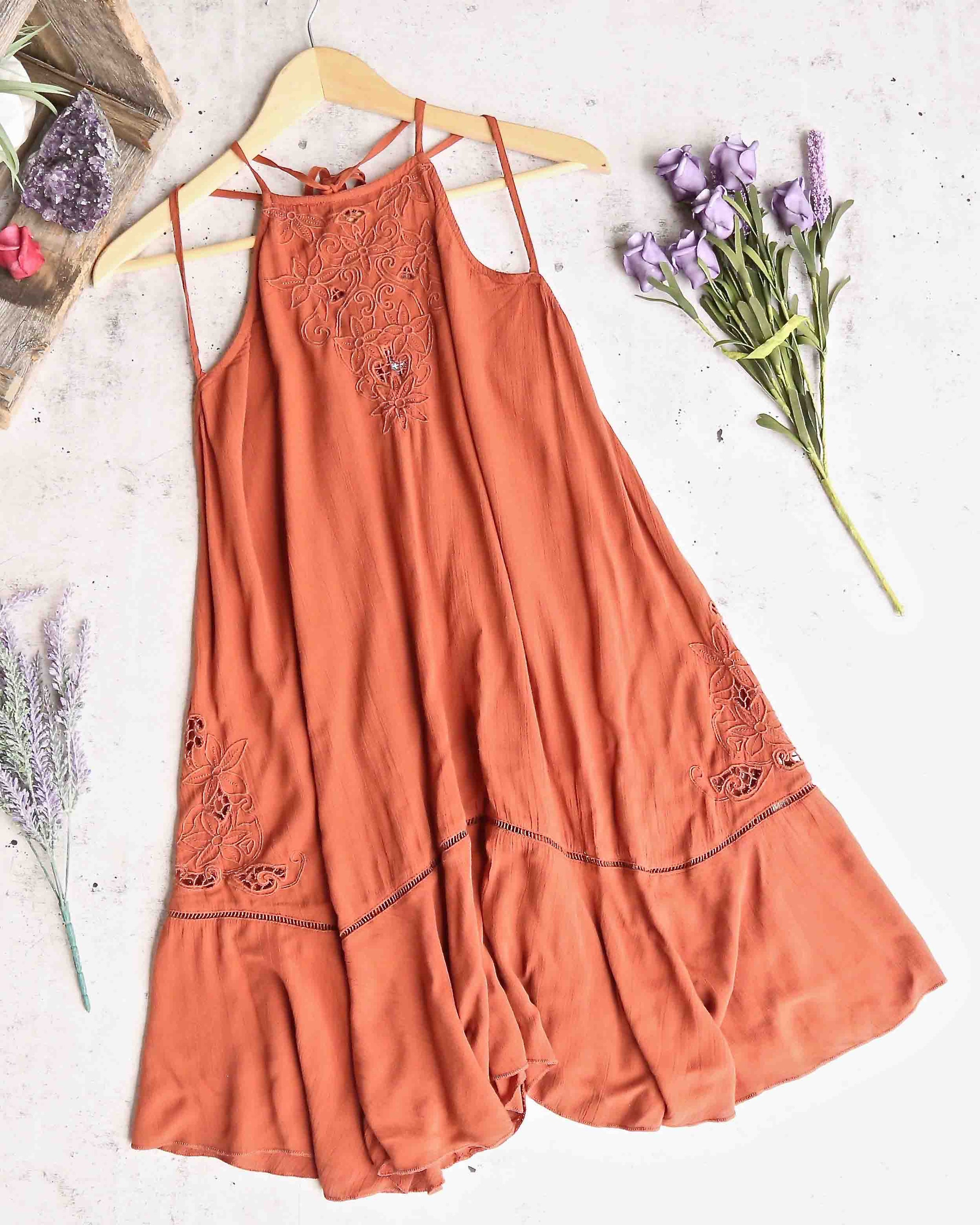 Free People  Heat Wave Tunic Dress  Terracotta