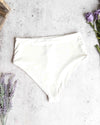 Kris Seamless Moderate Coverage High Waisted Bikini Bottoms in Ivory