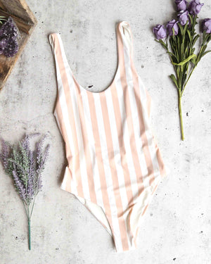 seamless u back one piece bikini - sand stripes