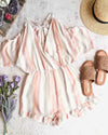 west coast ice cream parlor - striped peek-a-boo romper - peach