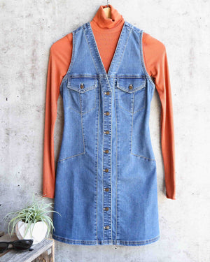 Free People - Wandering Star Denim Mini Dress in Blue