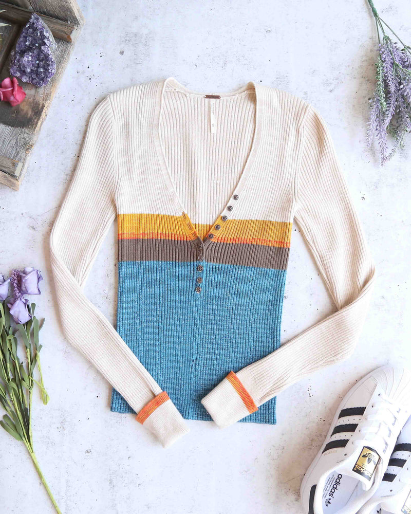 free people frequency v neck knit sweater blue combo