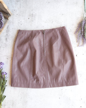 free people - modern femme novelty mini vegan suede skirt - mauve
