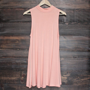 BSIC - solid high neck womens tank mini dress - coral - shophearts - 1