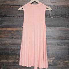 BSIC - solid high neck womens tank mini dress - coral - shophearts - 2