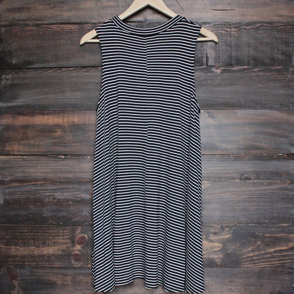 BSIC - boho striped womens tank mini dress - black - shophearts - 2