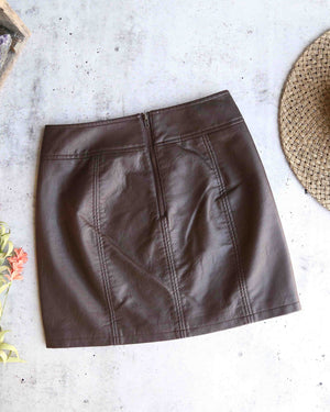 free people - mini retro bodycon vegan leather skirt - brown