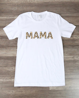 Distracted - Leopard Mama Graphic Tee in White