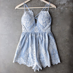 lace one piece embellished embroidered denim romper - shophearts - 1