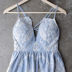 lace one piece embellished embroidered denim romper - shophearts - 3