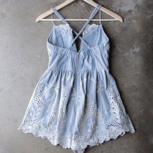 lace one piece embellished embroidered denim romper - shophearts - 2