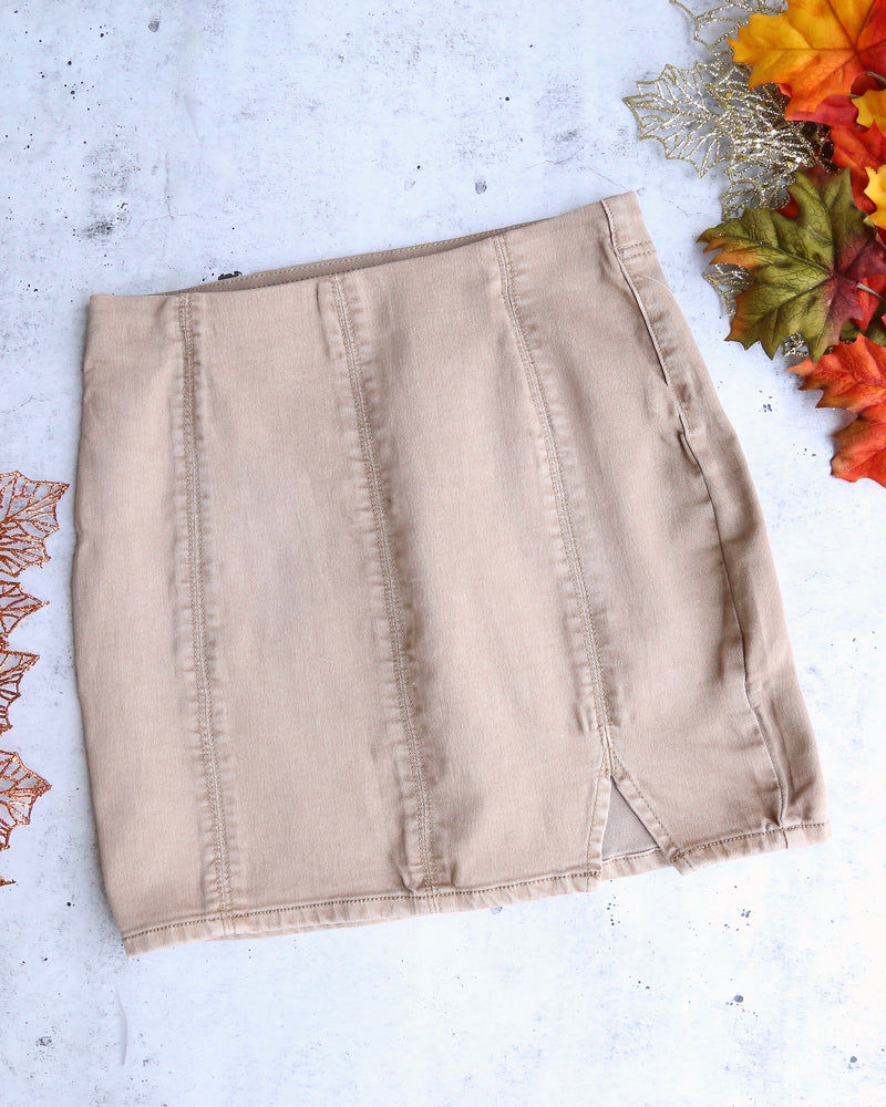 free people - femme fatal pull on skirt - khaki